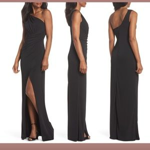 NEW Maria Bianca Nero Black One-Shoulder Gown